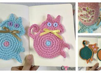 Peeking Cat Butt Coaster Free Crochet Pattern