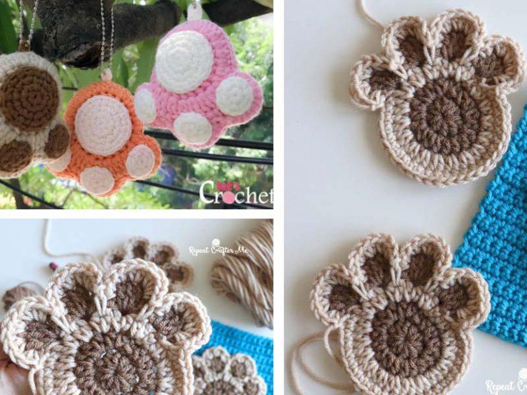 Paw Print Keychain Free Crochet Pattern