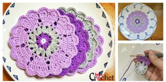 Crochet Hearts Doily Flower Coasters Free Pattern