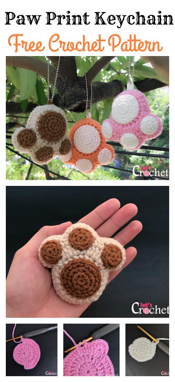Crochet Paw Print Keychain Free Pattern