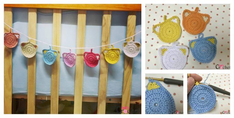 Cute Colorful Cat Garland Crochet Free Pattern
