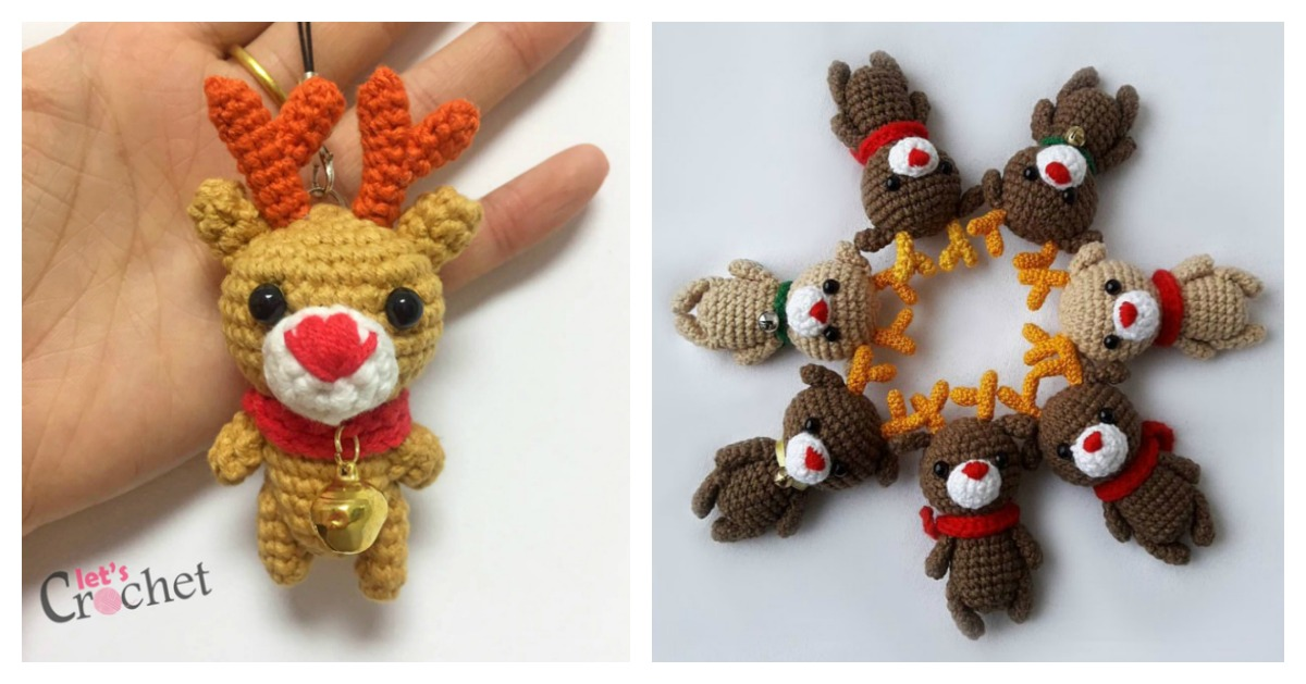 Easy Footprint Christmas Tree >> Adorable Mini Reindeer Amigurumi Free Crochet Pattern