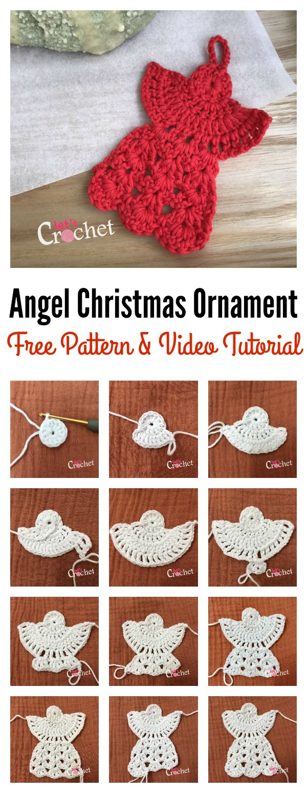 Angel Christmas Ornament Free Crochet Pattern and Video Tutorial