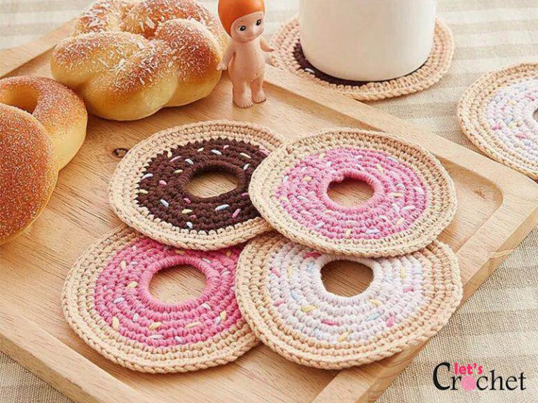 Sprinkle Donut Coaster Free Crochet Pattern