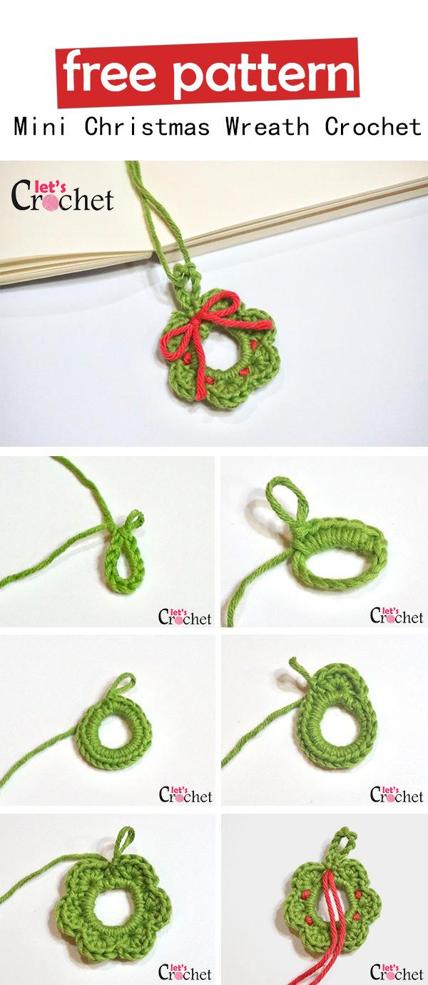 Mini Christmas Wreath Free Crochet Pattern