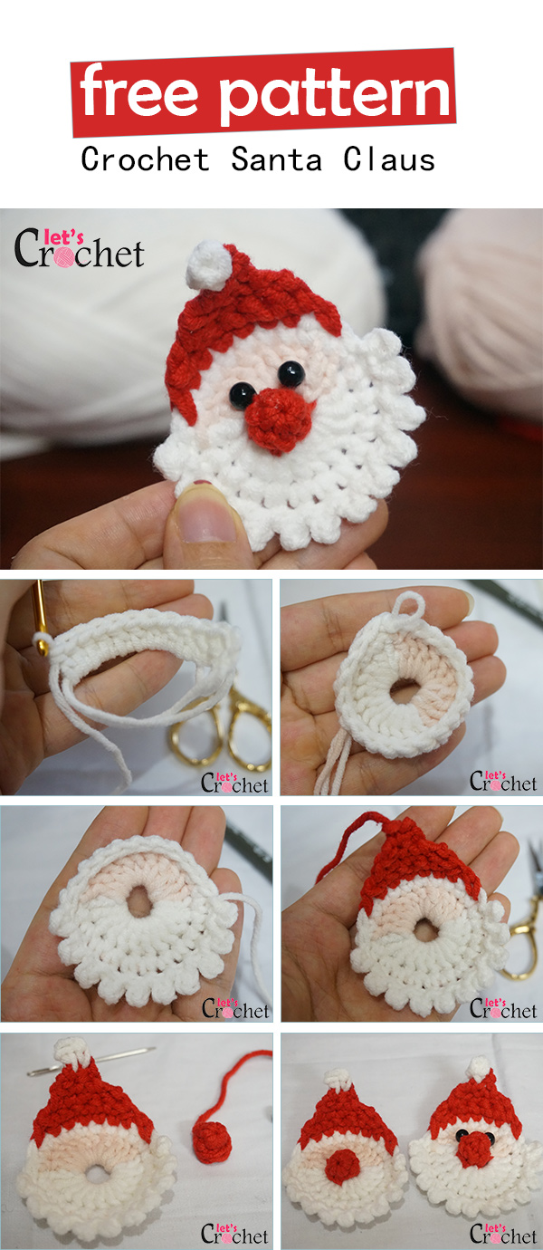 Santa Claus Christmas Hanging Decoration Free Crochet Pattern A