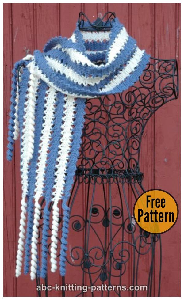 Bruges Lace Scarf With Corkscrew Fringe Free Crochet Pattern