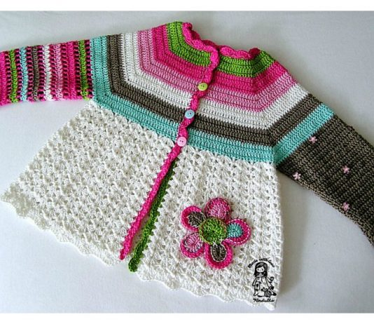 Flower Cardigan Free Crochet Pattern