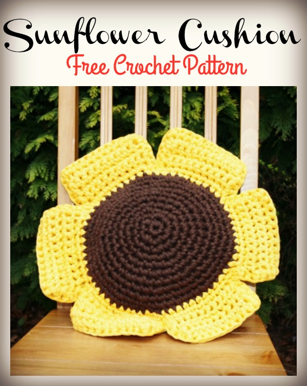 Hoopla Sunflower Cushion Free Crochet Pattern