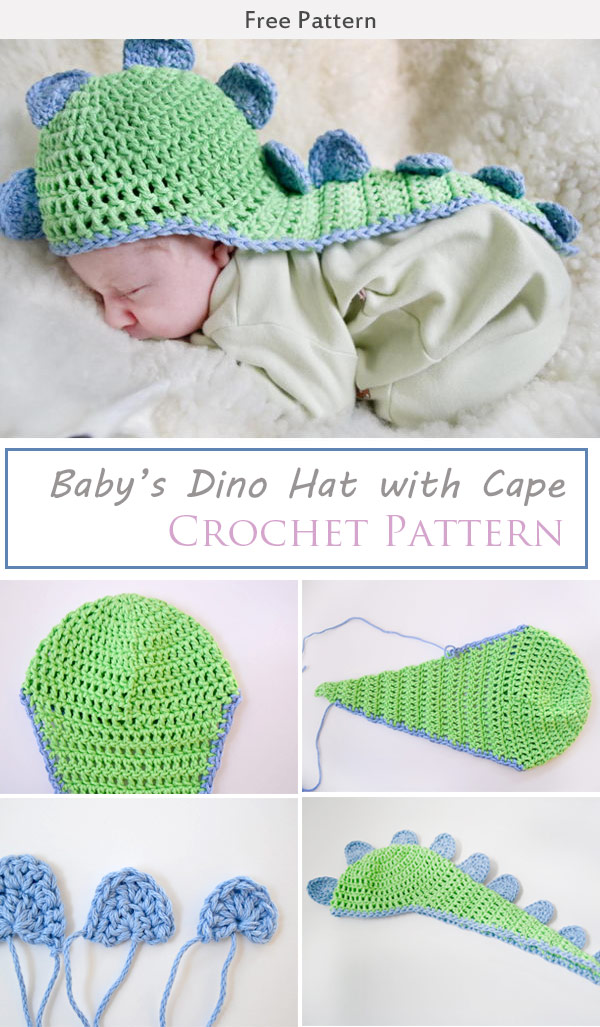 Babys Dino Hat With Cape Crochet Free Patternbabys Dino Hat With