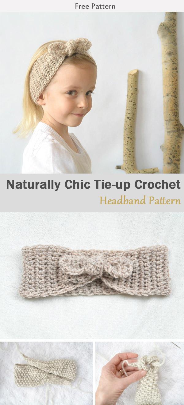 Naturally Chic Tie-up Crochet Headband Free Pattern