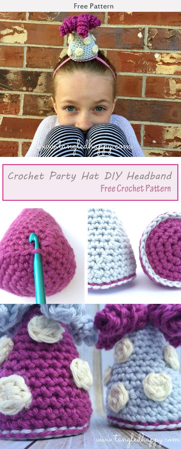 Party Hat DIY Headband Free Crochet Pattern