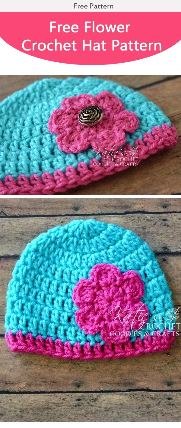 Easy Flower Baby Hat Free Crochet Pattern