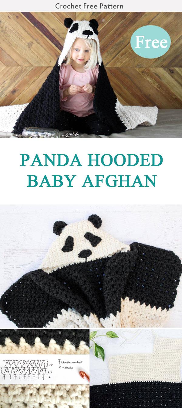 PANDA HOODED BABY AFGHAN CROCHET FREE PATTERN