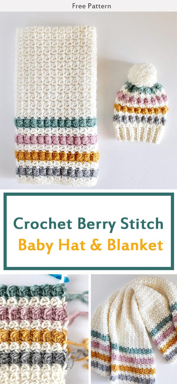 Crochet Berry Stitch Baby Hat & Blanket