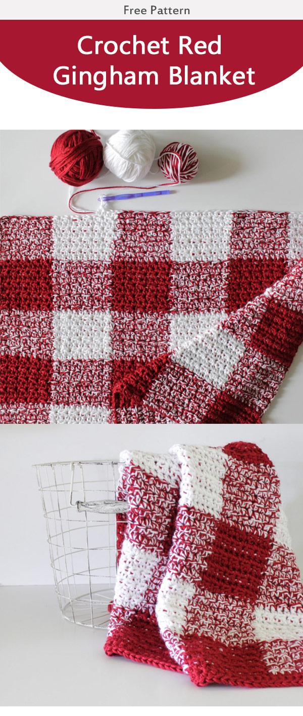 Red Gingham Blanket Free Crochet Pattern