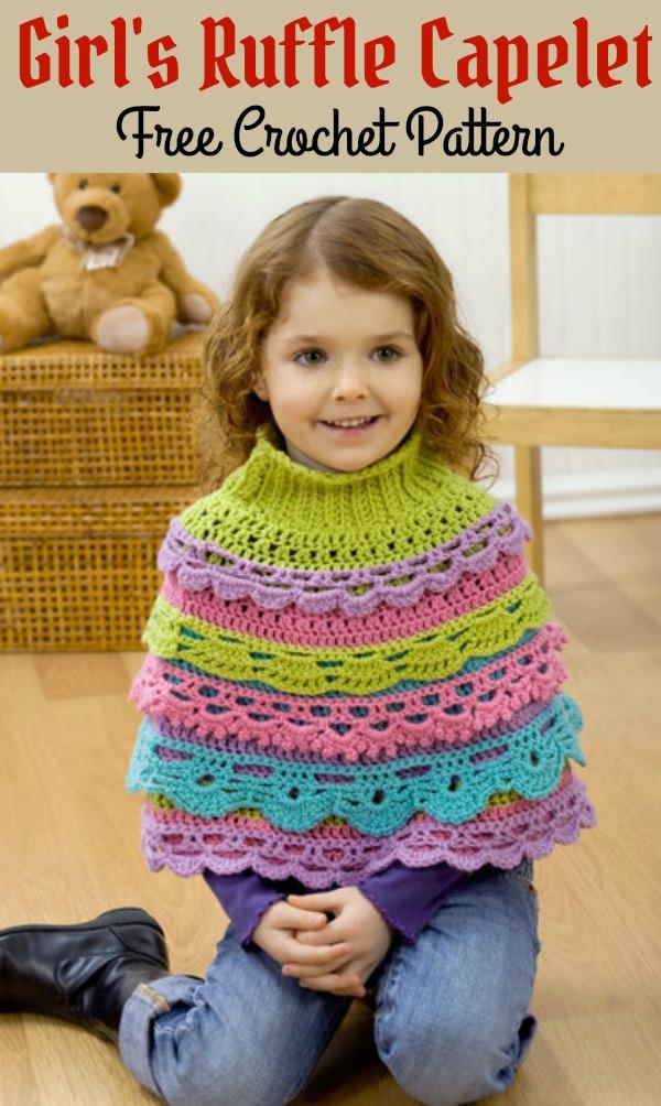 Girl\'s Ruffle Capelet Free Crochet Pattern