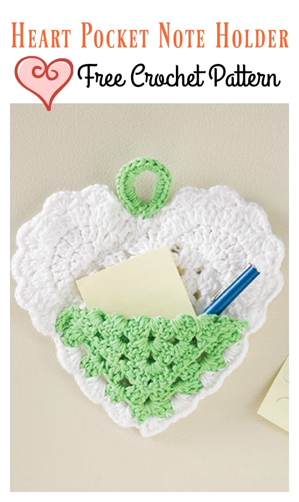 Heart Pocket Note Holder Free Crochet Pattern