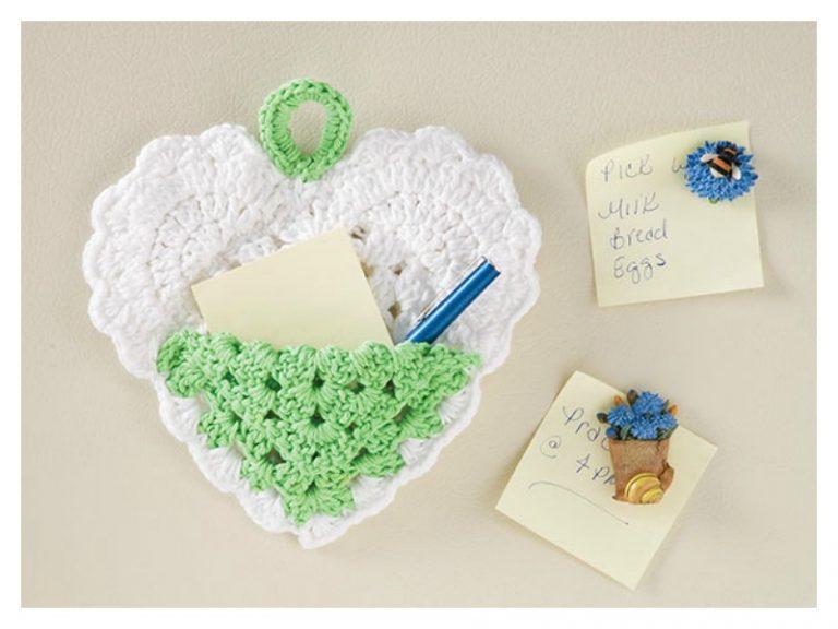 Heart Pocket Note Holder Free Crochet Pattern