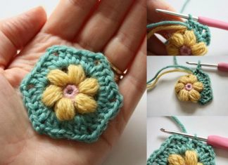 CROCHET DAISY PUFFAGON FLOWER TUTORIAL FREE PATTERN