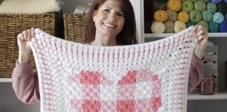 Crochet Gingham Heart Blanket Free Pattern