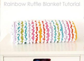 Rainbow Ruffle Blanket Crochet Free Pattern