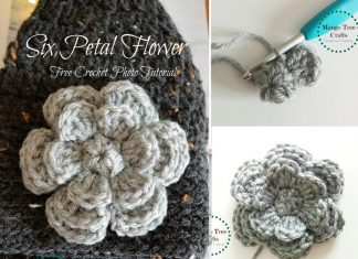 Six Petal Flower Free Crochet Pattern