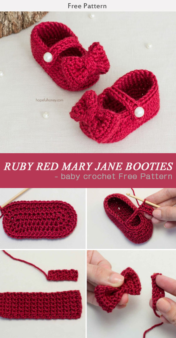 Ruby Red Mary Jane Booties Baby Crochet Free Pattern