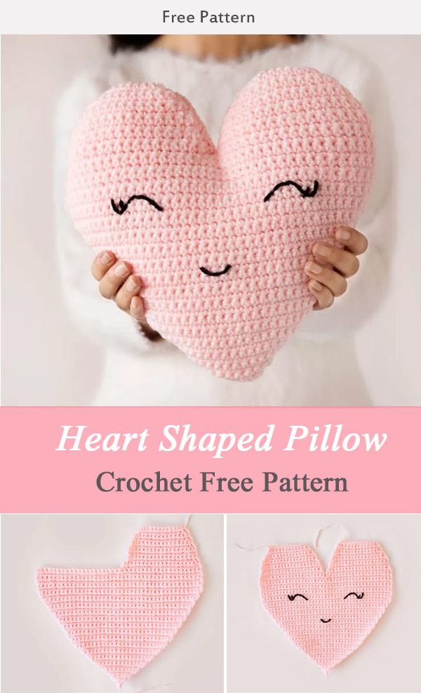 Heart Shaped Pillow Crochet Free Pattern