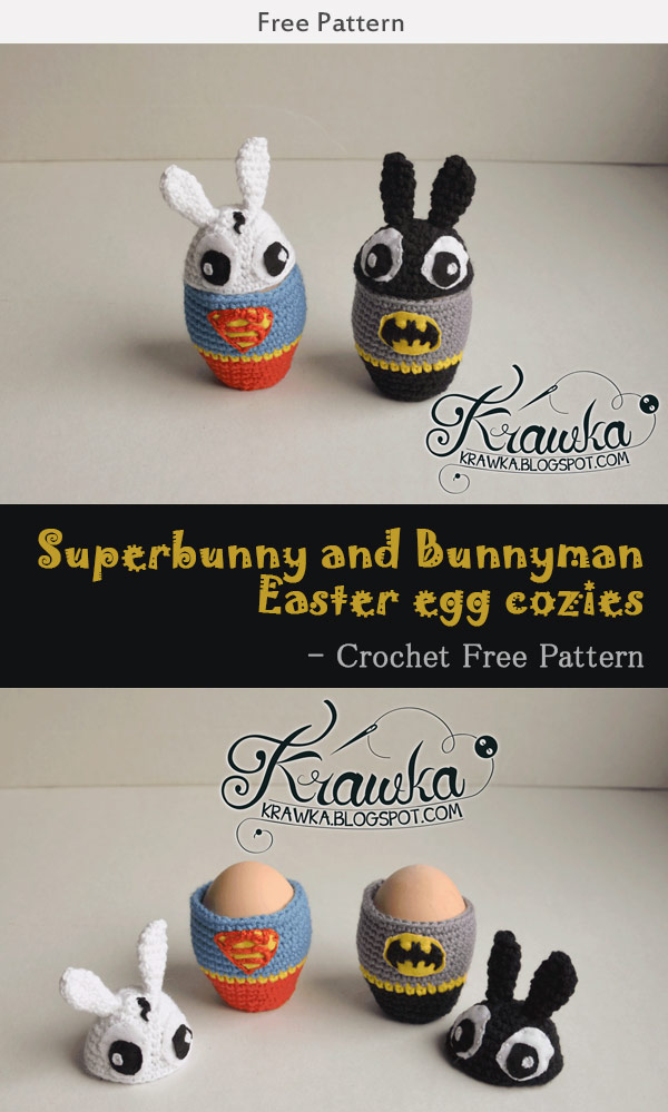 Superbunny and Bunnyman Easter egg cozies - Crochet Free Pattern