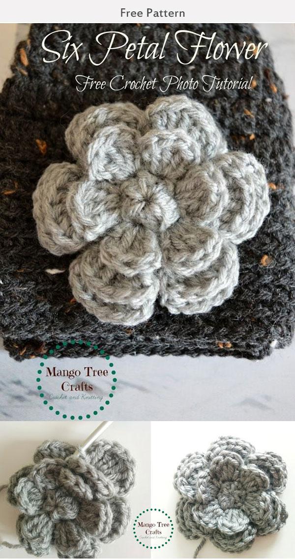 Six Petal Flower Free Crochet Pattern