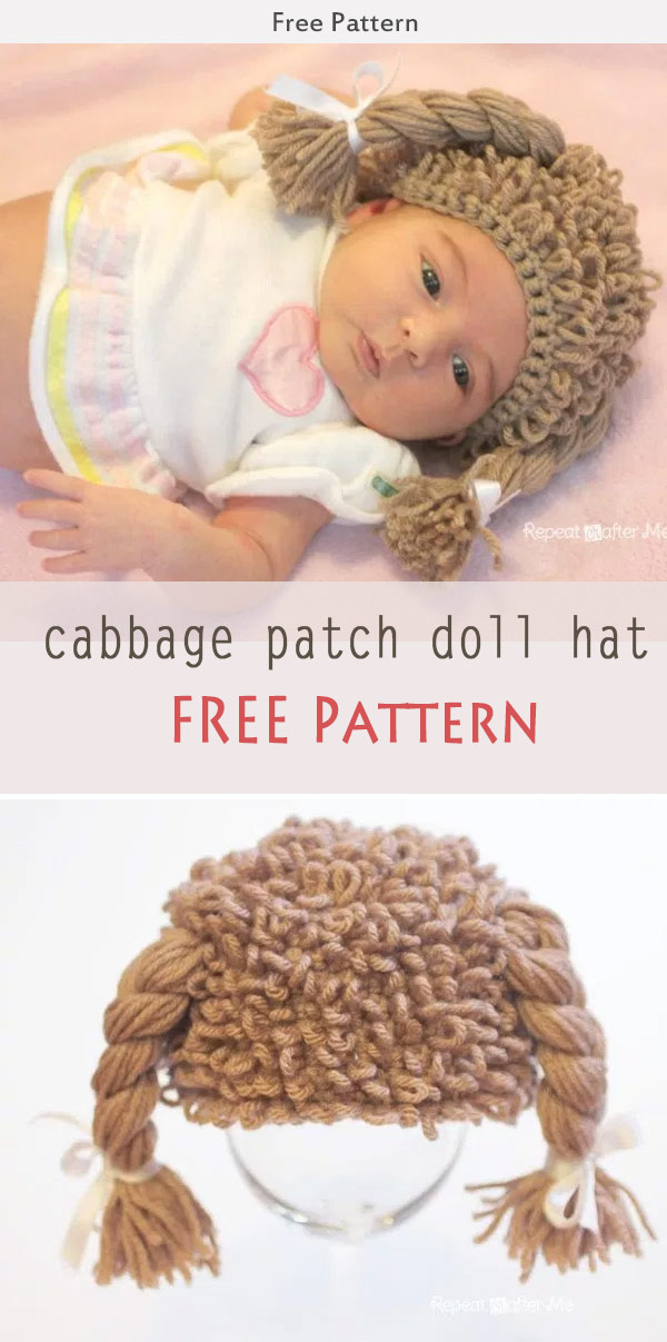 Crochet Cabbage Patch Doll Inspired Hat Free Pattern dd57dbe57d4
