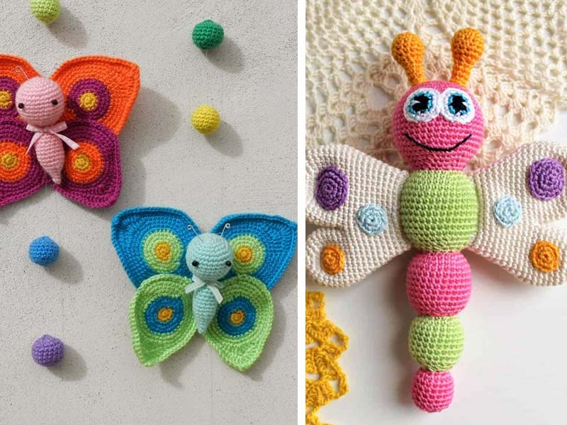 Butterfly baby rattle crochet pattern - Amigurumi Today | 600x800