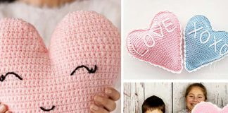 Cute Heart Pillow Free Crochet Pattern