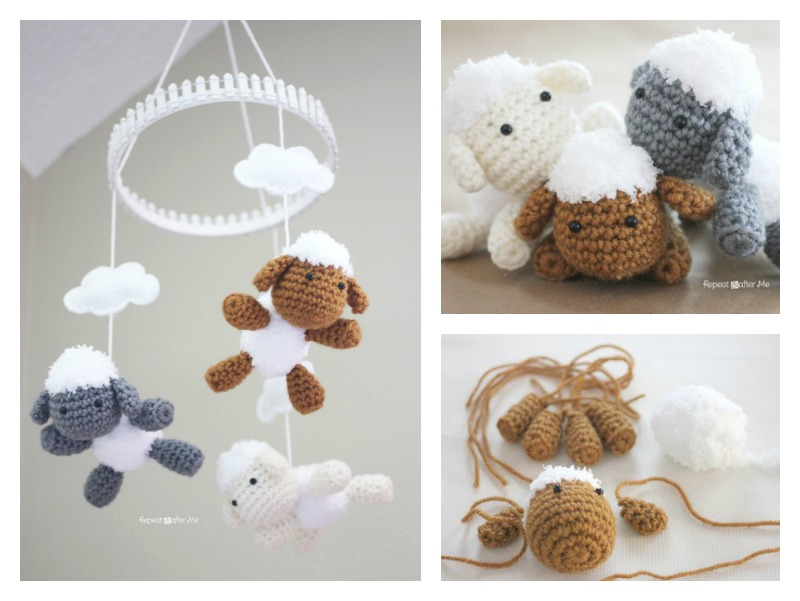 Lamb Baby Mobile Free Crochet Pattern