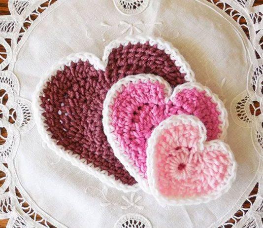 Hearts In 3 Sizes Free Crochet Patterns