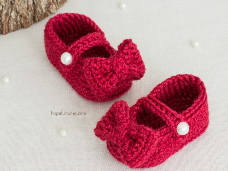 RUBY RED MARY JANE BOOTIES – baby crochet Free Pattern
