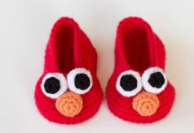 Elmo Inspired Baby Booties Free Crochet Pattern