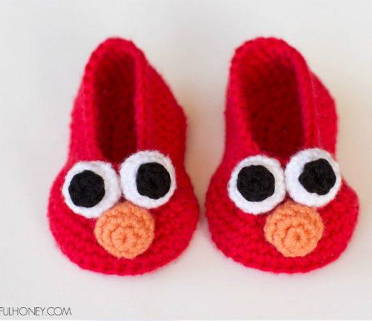 Elmo Inspired Baby Booties Free Crochet Pattern