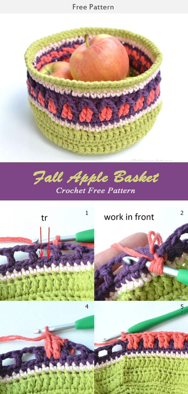 Fall Apple Basket Free Crochet Pattern