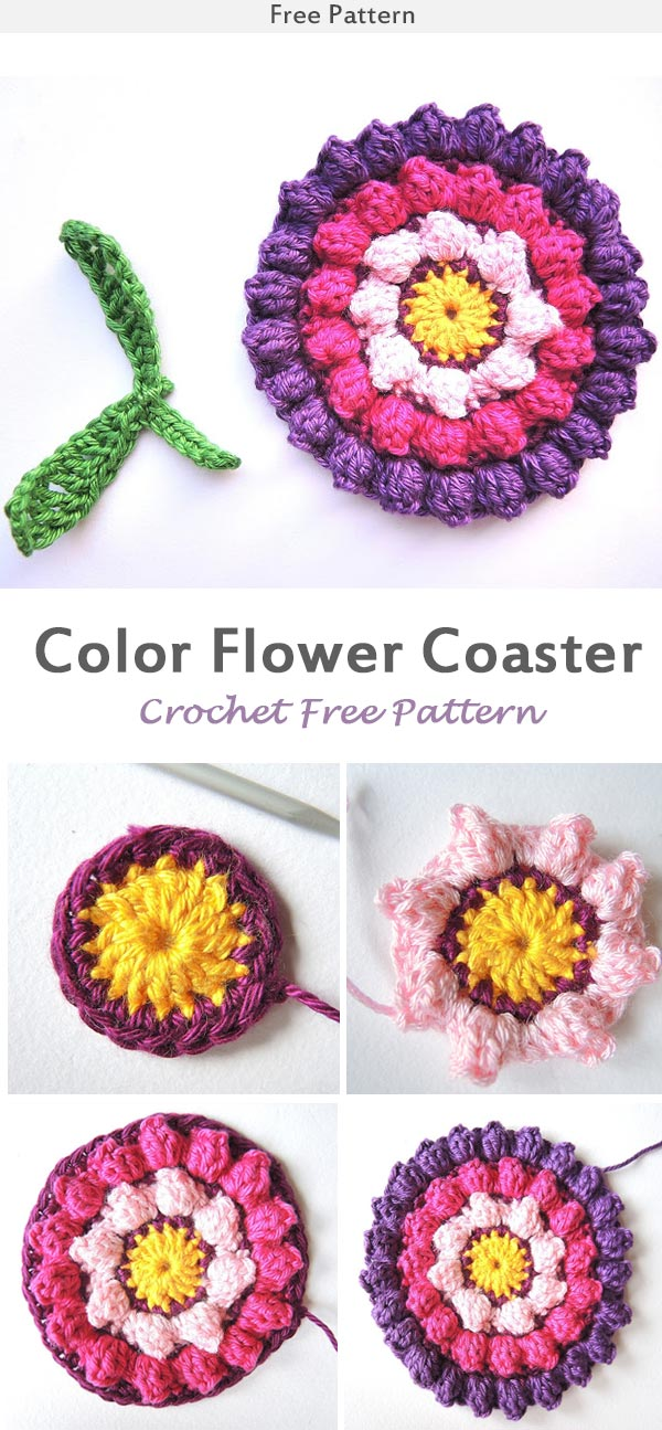Color Flower Coaster Crochet Free Pattern