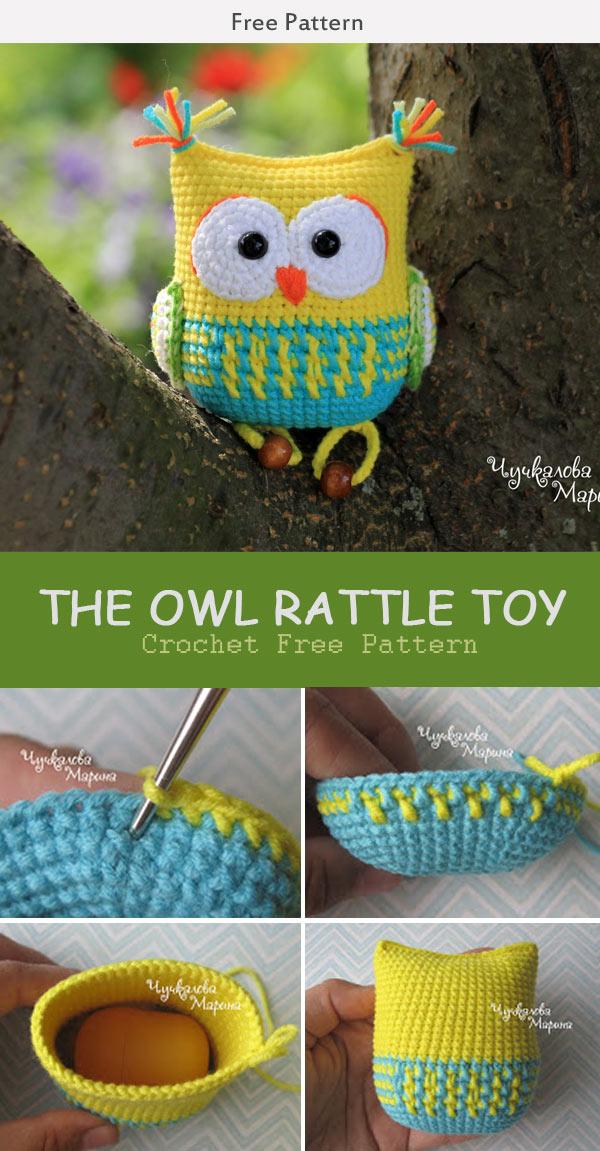The Owl Rattle Toy Crochet Free Pattern