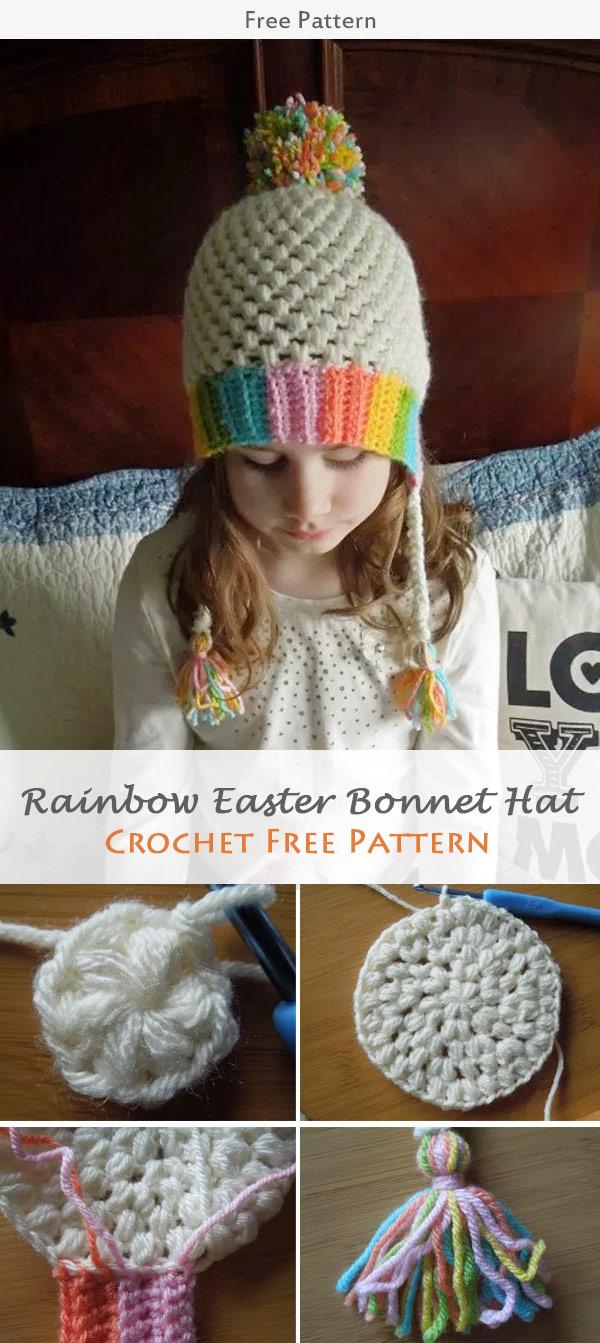 Rainbow Easter Bonnet Hat Crochet Free Pattern