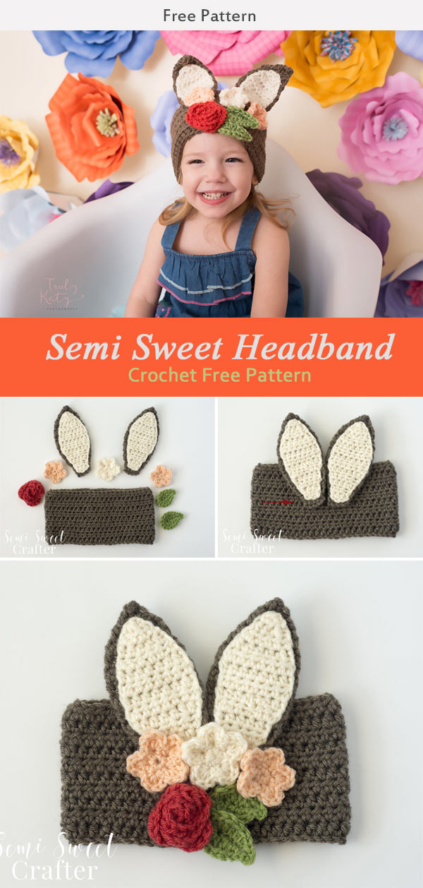Semi Sweet Crafter Floral Bunny Headband Free Crochet Pattern