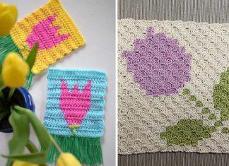 2 Tulip Coaster Free Crochet Pattern