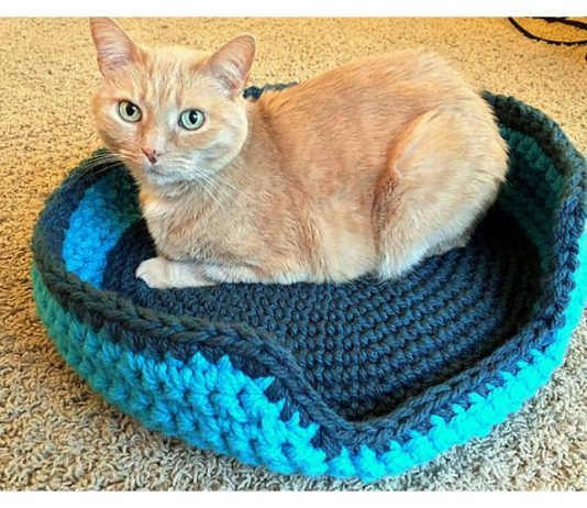 Sturdy & Comfy Cat Bed Free Crochet Pattern