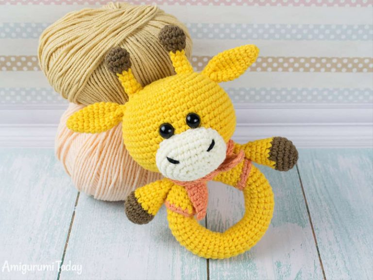 Giraffe Baby Rattle Crochet Free Pattern