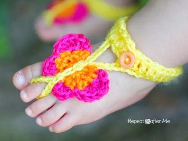 Butterfly Barefoot Sandals Crochet Free Pattern