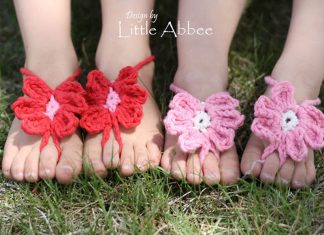Kid's Toe Flower Sandals Crochet Free Pattern