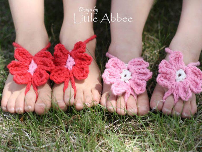 Kid's Toe Flower Sandals Crochet Free Pattern